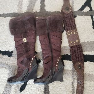 Vintage Baby Phat Faux fur knee boots. Size 7